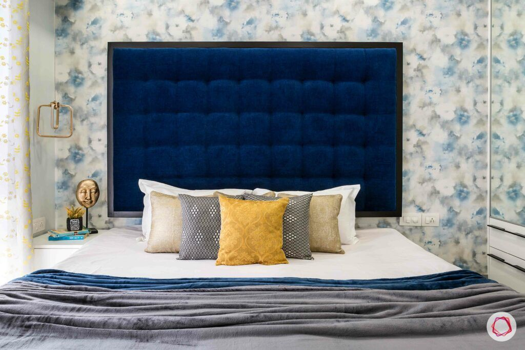 interior design in mumbai-blue headboard