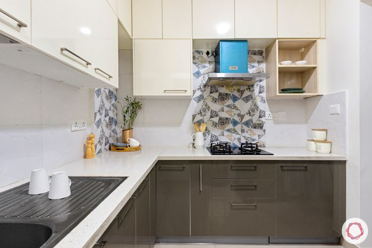 2 bhk flat interior design-cream and brown-laminate finish cabinets-open shelves-quartz countertop