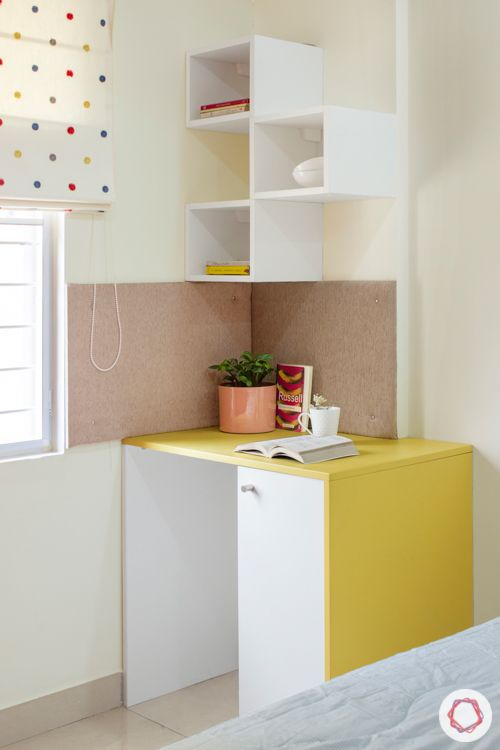 Study unit-white and yellow-membrane finish-display shelf-window blinds
