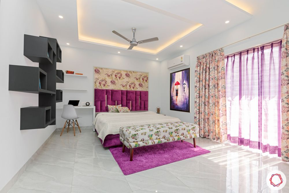 4 bhk home design-purple velvet-floral wallpaper-open shelf designs-false ceiling-purple carpet