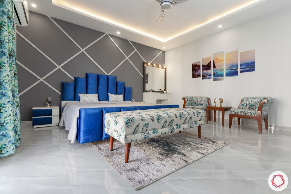 4 bhk home design-blue velvet bed-vanity unit-grey accent wall