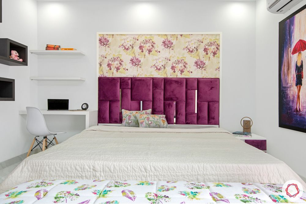 purple velvet-floral wallpaper-open shelf designs-false ceiling-purple carpet