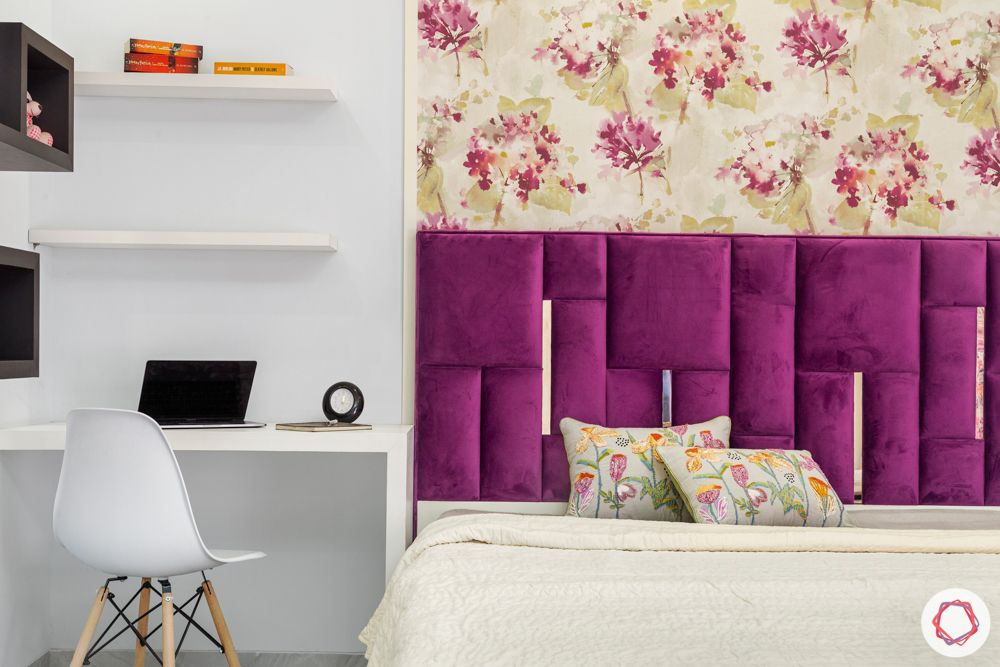 purple velvet-floral wallpaper-open shelf designs