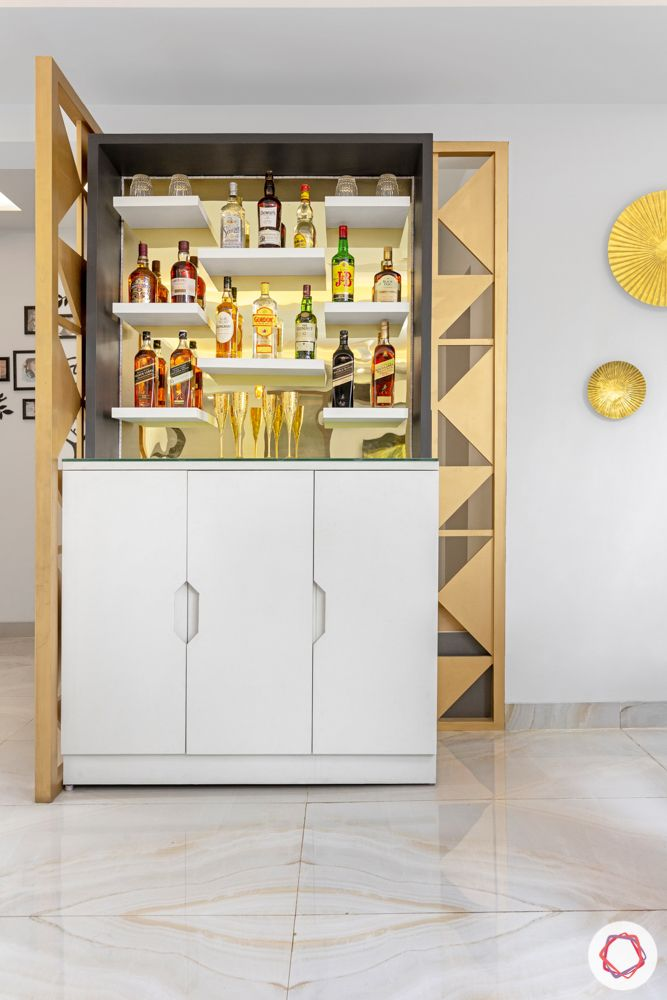 4 bhk home design-bar unit designs