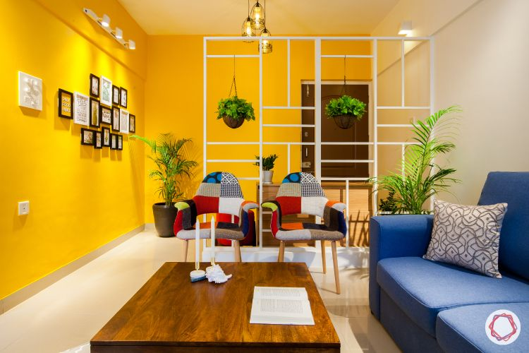 hall partition designs-yellow wall paint-white living room dividers