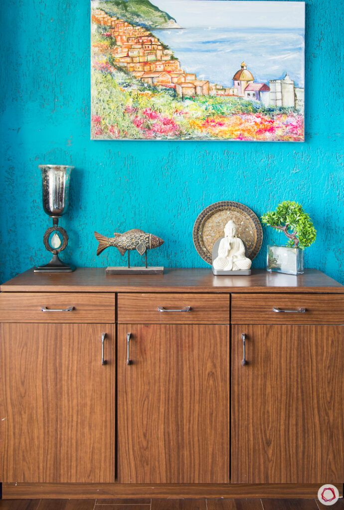 types of paints-blue wall paint-wooden console