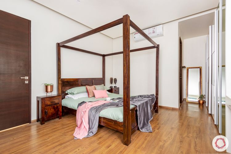 interior companies in bangalore-four-poster bed-wooden flooring