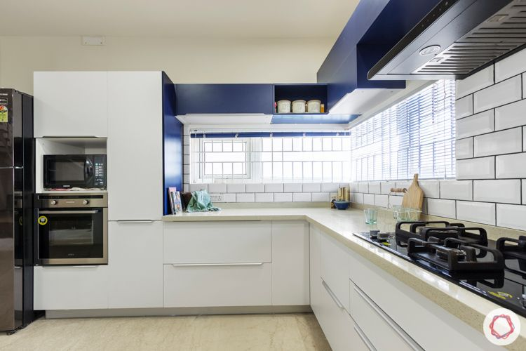 interior companies in bangalore-breakfast counter-blue and white kitchen-L-shaped kitchen