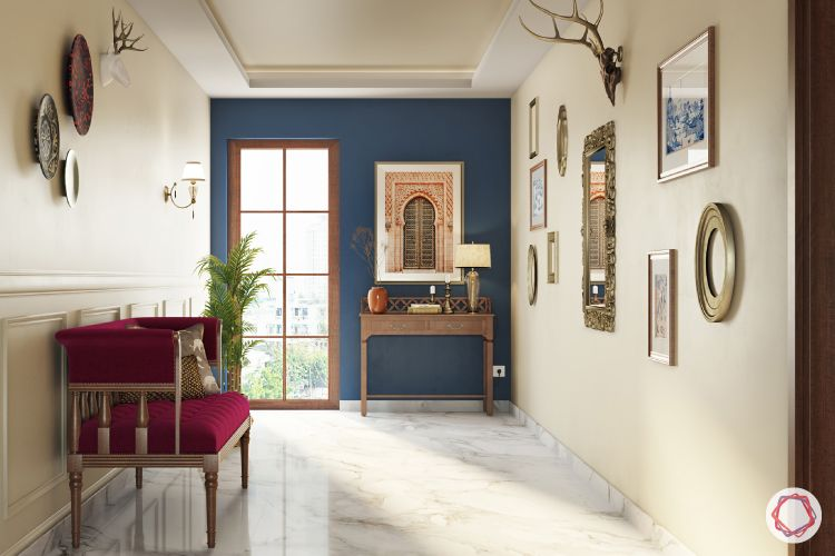 Entrance Wall Design-seat-wooden console-mirrors-accessories