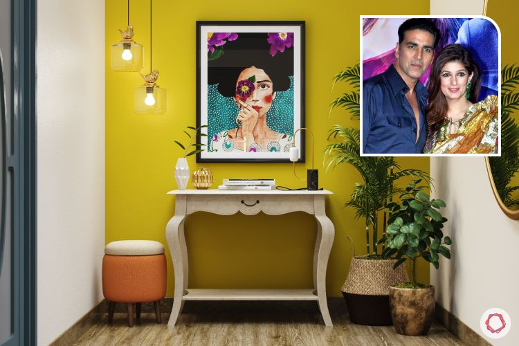 celebrity home-twinkle khanna home-console table-yellow wall designs