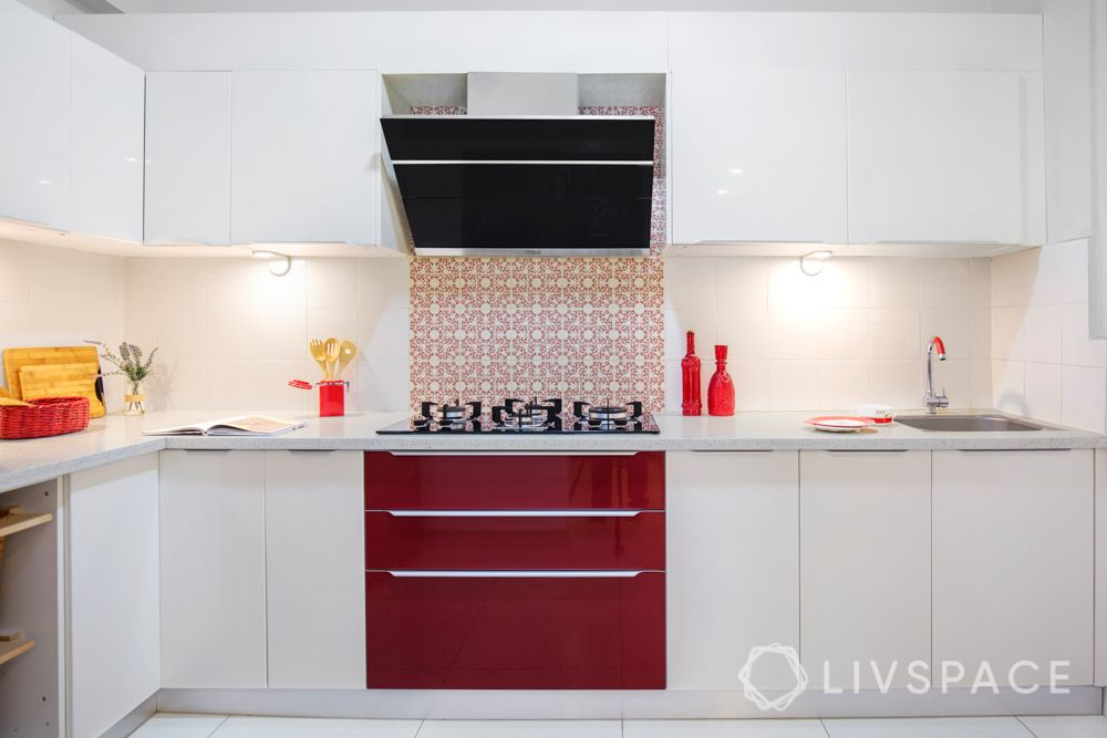 modular kitchen checklist-patterned backsplash-dual tone kitchen