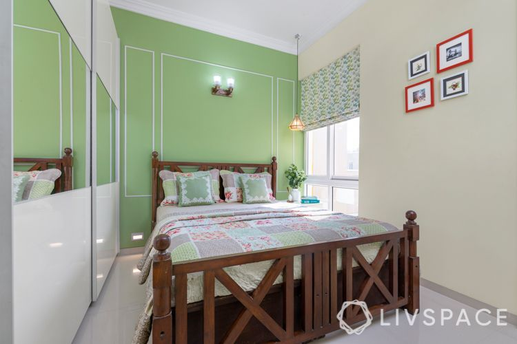 interiors in gurgaon-green wall ideas-wooden bed designs