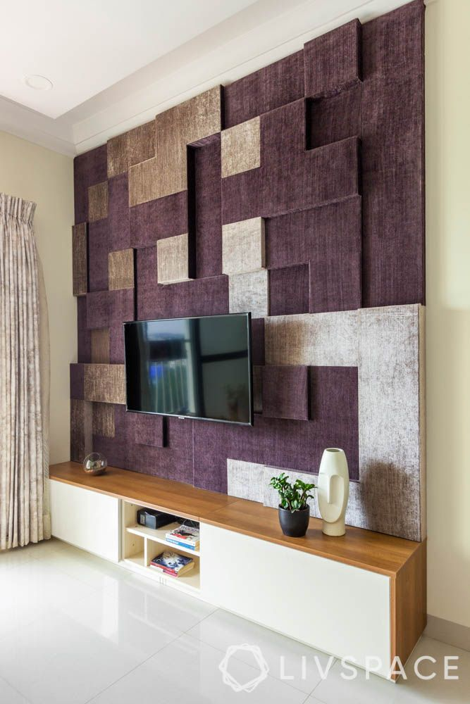 Living room-tv unit-fabric upholstery