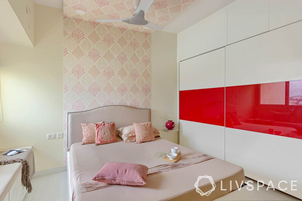 2 BHK in Bangalore-master bedroom-wallpaper-false ceiling-laminate wardrobe-lacquered glass panel