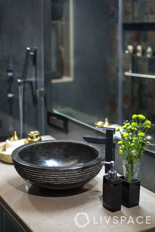 sink-black bathroom-soap dishes