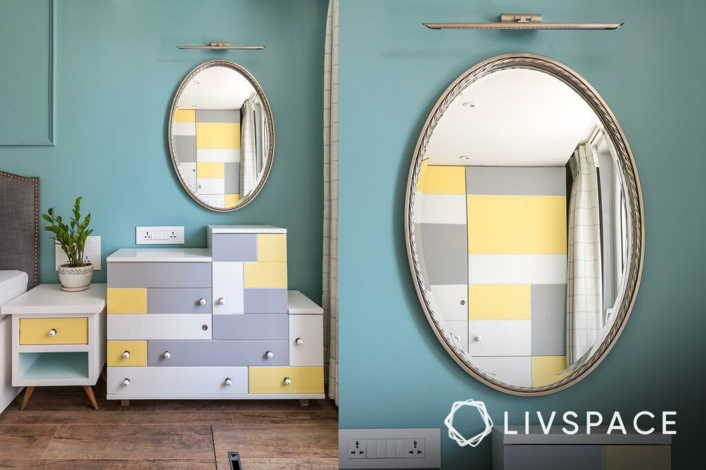mirror shapes-yellow and grey vanity unit-blue wall