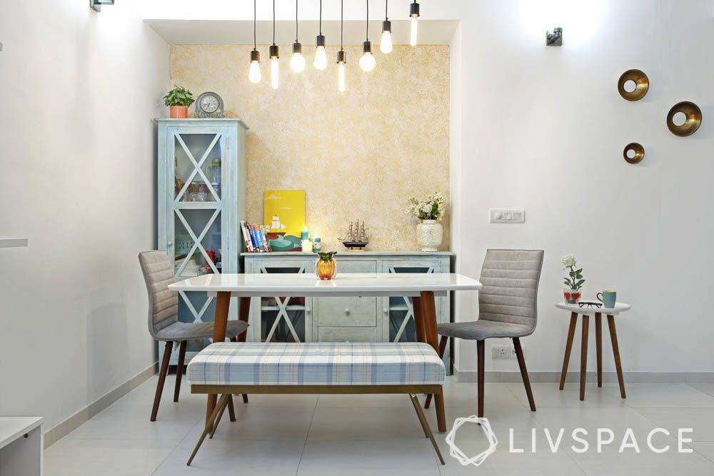 Dining table-bench-chairs-cabinet-lights