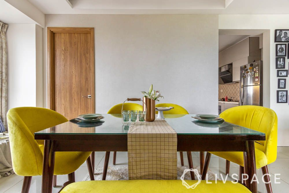 Yellow chairs-wooden table-dining room