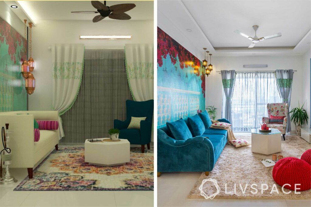 interiors in bangalore-blue bougainville wallpaper-floor seating-wall trims-tv unit design