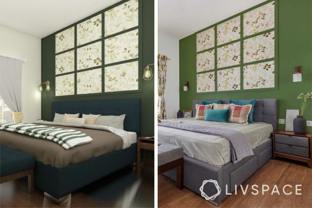 interiors in bangalore-green painted walls-wall trims-upholstered bed-white wardrobes-floral  wallpaper