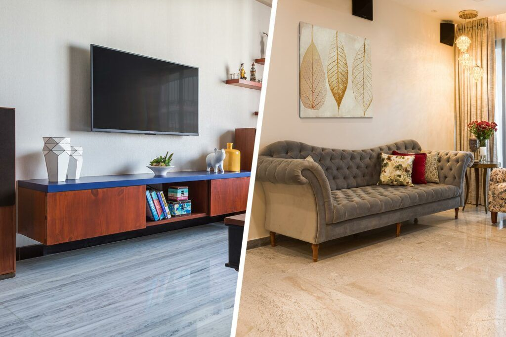 best flooring for house in india-wooden tv unit-grey sofa-pendant lights-wall art