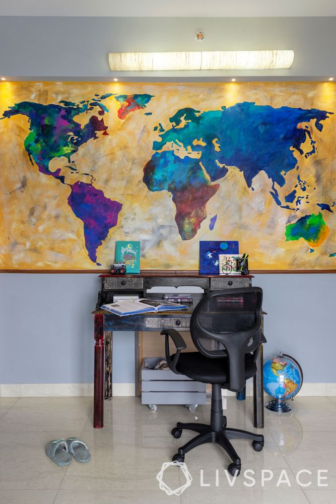 world-map-hand-painted-study-table-spotights-grey-walls