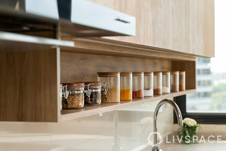 kitchen racks and storage-glass containers-spices-sink-wooden cabinets