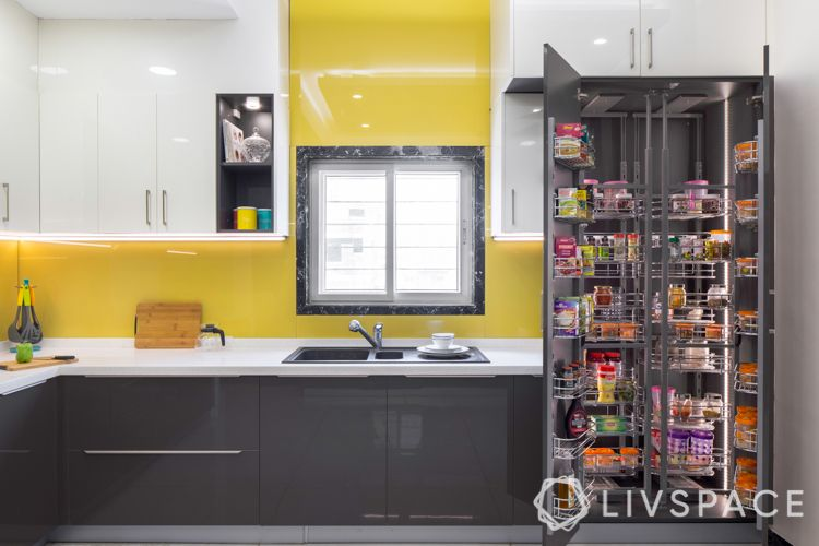 kitchen racks and storage-yellow backsplash-tall unit-white cabinets