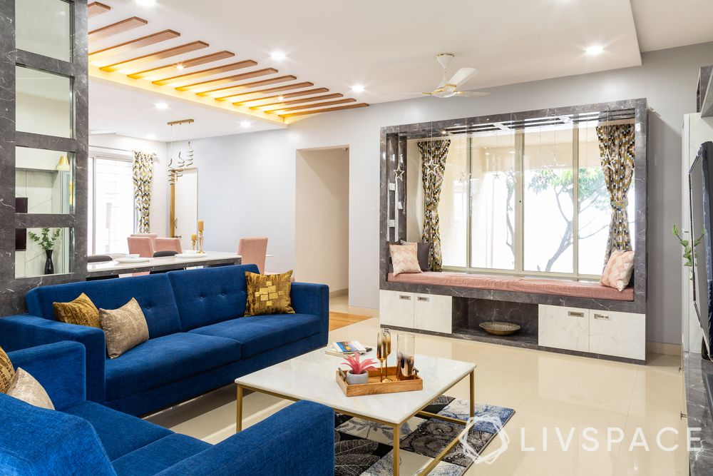 interior designers in pune-seating ledge with storage-bay window seating