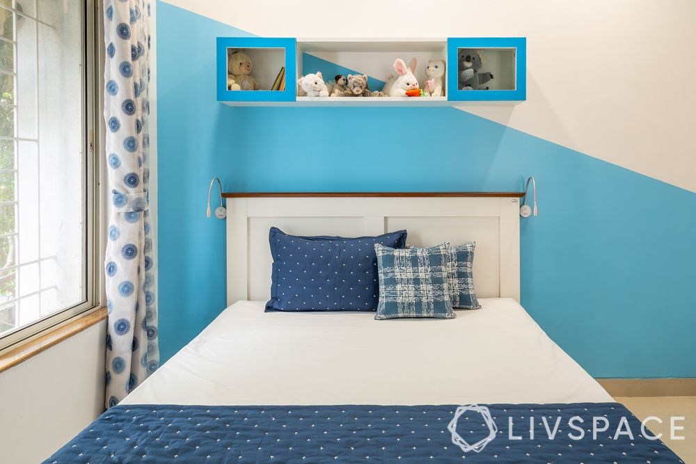 interior designers in pune-blue and white wall-kids room colours