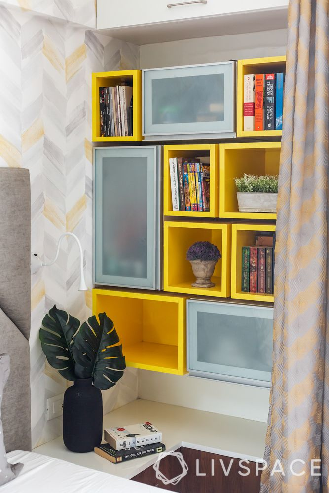 floating shelf designs-cube shelves-open and closed units