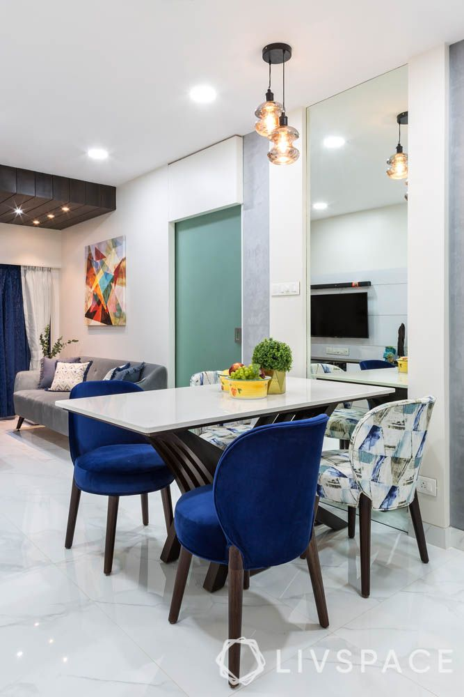 Dining Table Top-quartz-pendant lights-blue and white chairs