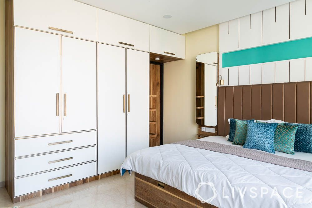 3bhk-house-design-parents-bedroom-laminate-wardrobe