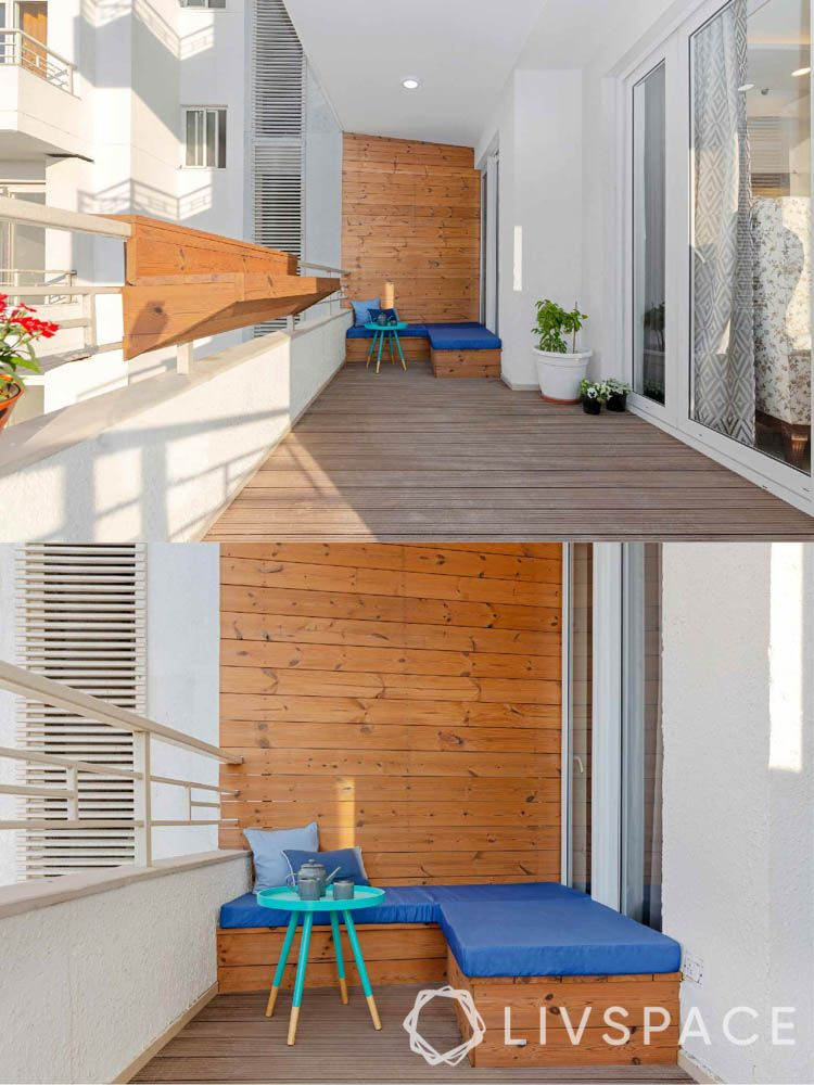 home balcony design-wooden panelling-minimal seating-coffee table