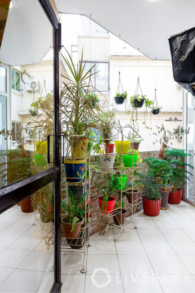 home balcony design-plants-potted planters-hanging plants