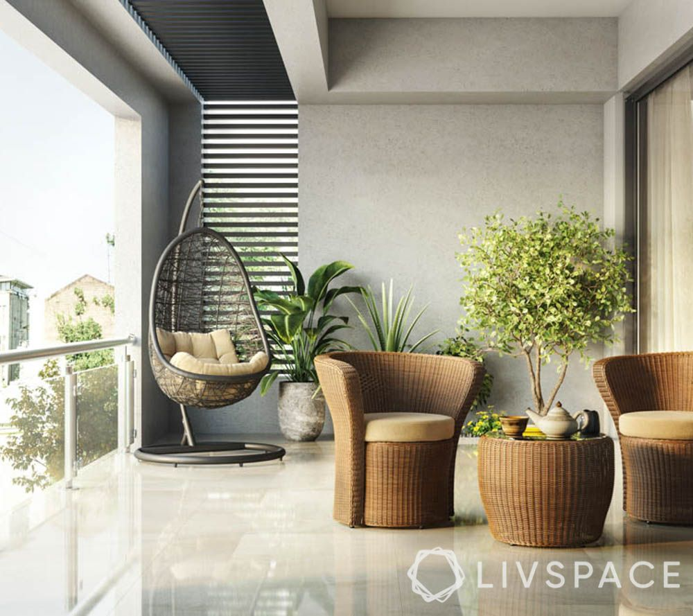 home balcony design-two seater set-coffee table-terrace balcony