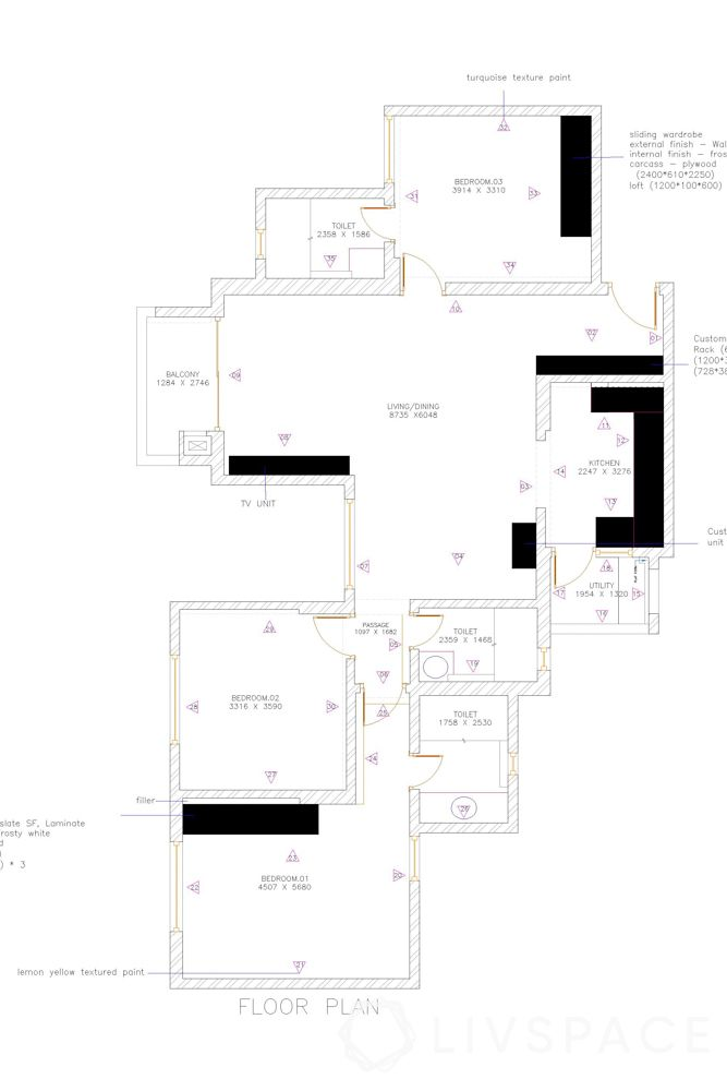 simple interior design-floor plan