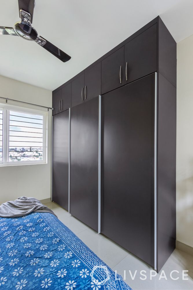 simple interior design-grey matte wardrobe-sliding door-loft