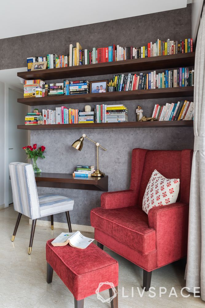 home office ideas-red arm chair-study table-book shelves-table lamp