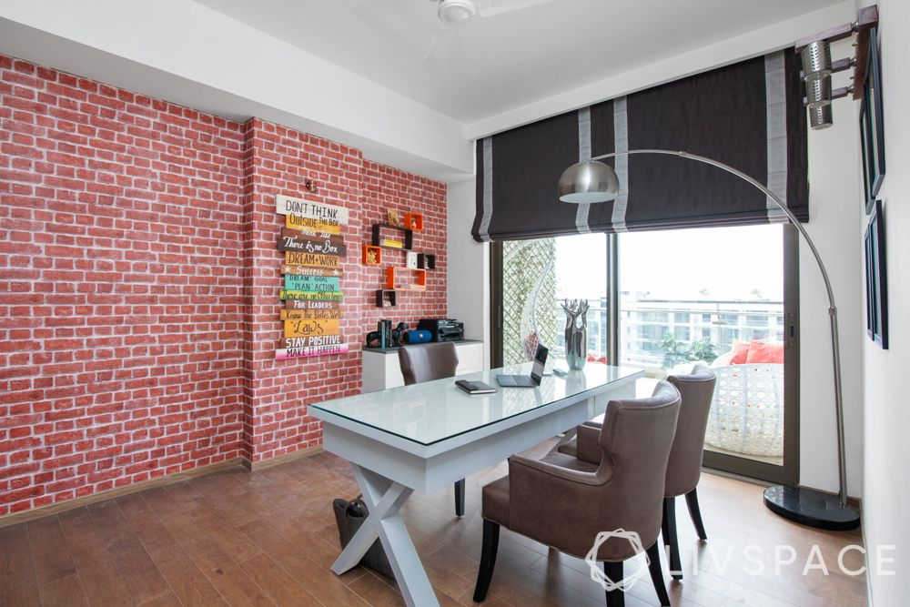 home office ideas-brown chairs-standing lamp-brick wall-white table