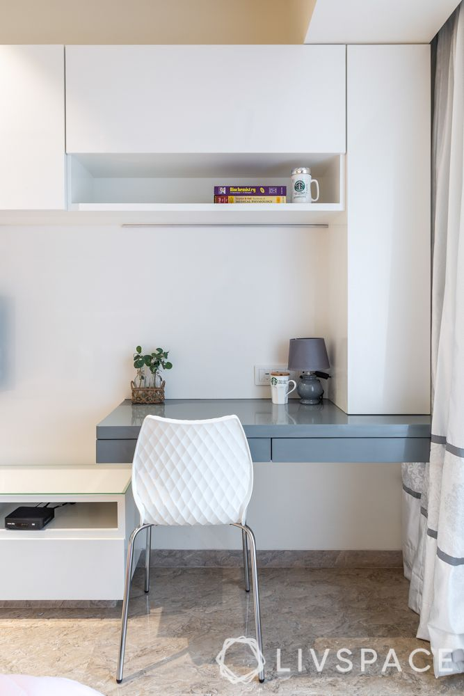 home office ideas-white chair-grey and white tv unit-table lamp-desk plant