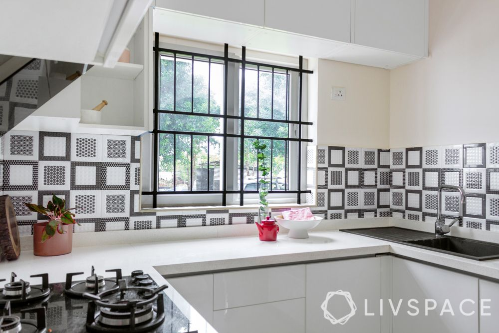 3 bhk in bangalore-white kitchen-acrylic finish-hob-sink woth drainboard