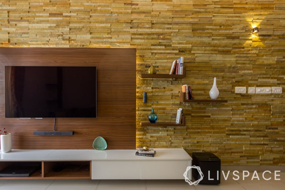 Wall design ideas-stone cladding-living room