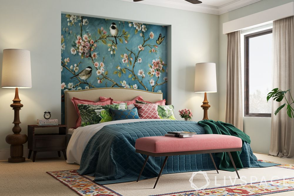 master bedroom design-green and pink theme-bench-floral wallpaper