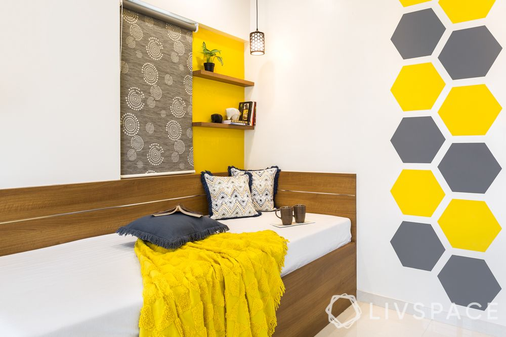 trundle bed-yellow and grey theme