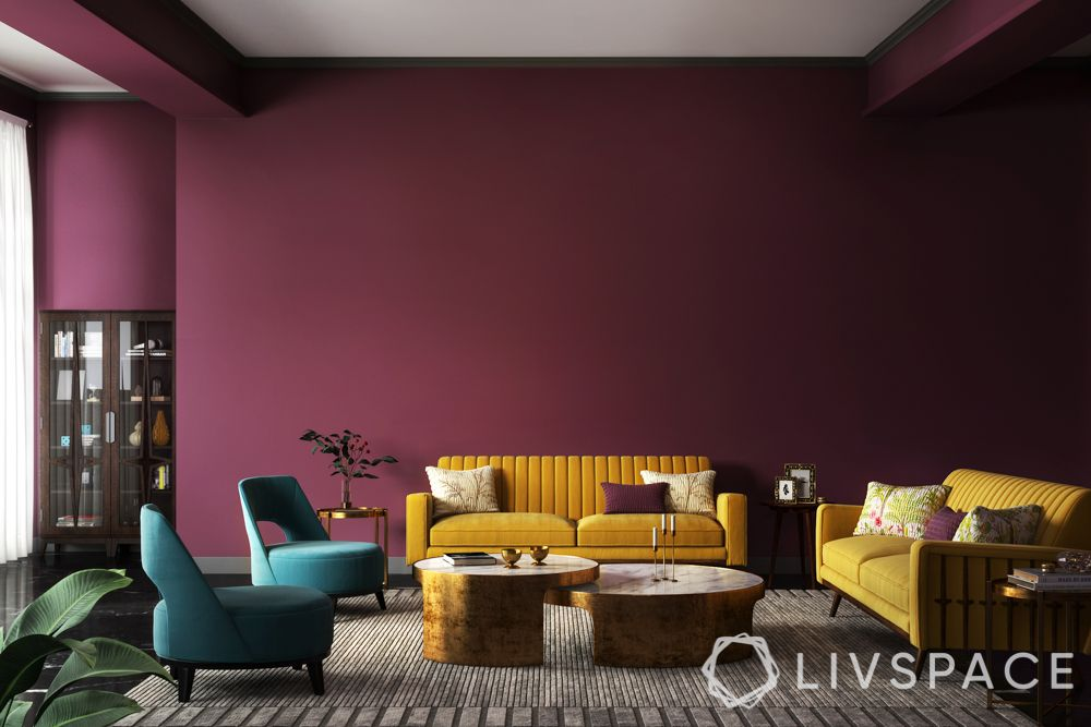 How paint affects room size-living room-yellow sofa