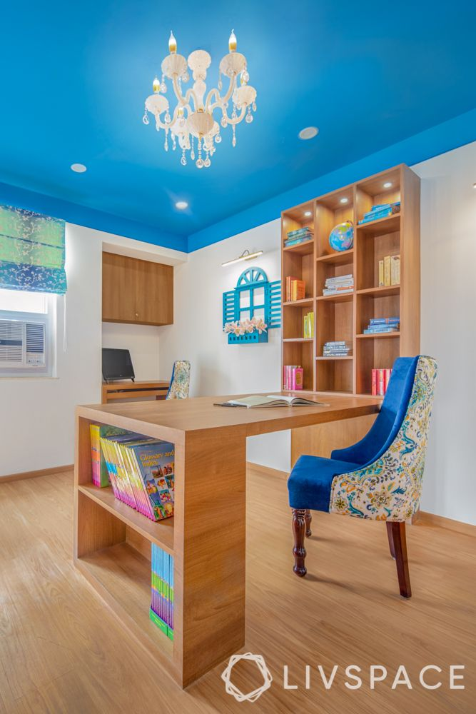 How paint affects room size-study-blue ceiling