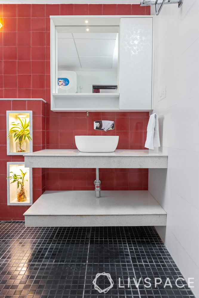 Difference between Floor Tile and Wall Tile-bathroom red tiles-floor tiles-wall tiles