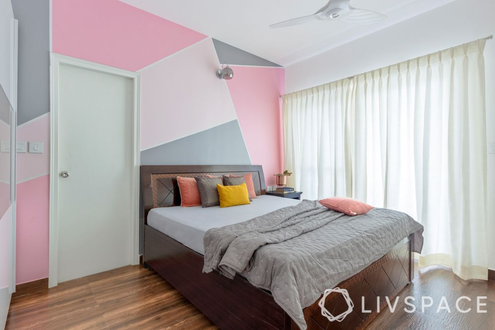 3 bhk flat design-pink wall ideas-white curtains