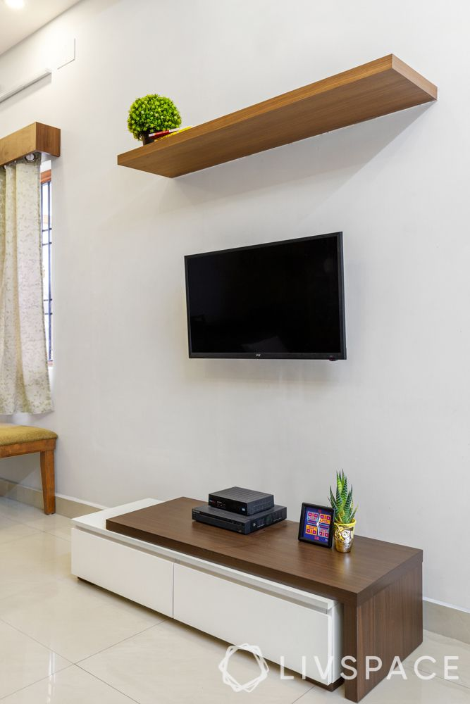 living room-white and wood tv unit-wooden display shelf